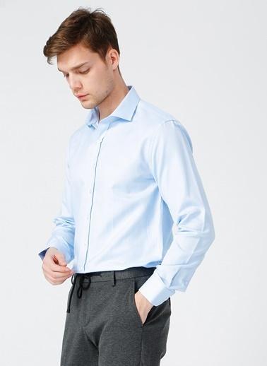 NetWork Network Erkek Desenli Mavi Slim Fit Uzun Kol Gömlek Mavi